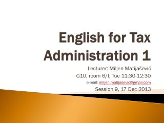 English for  Tax Administration  1
