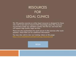 Resources  for  Legal Clinics