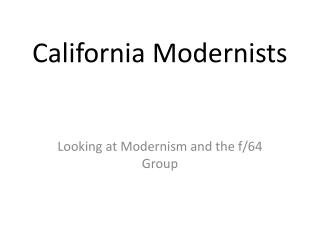 California Modernists