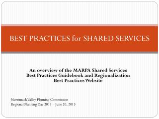 BEST PRACTICES for SHARED SERVICES