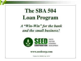 small business jobs act: 504 loan program debt refinancing