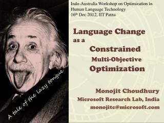 Language Change as a  Constrained  Multi-Objective  	Optimization