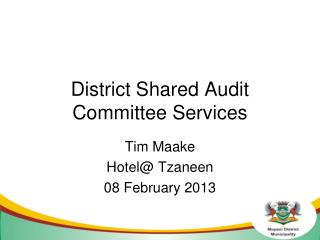 District Shared Audit Committee Services