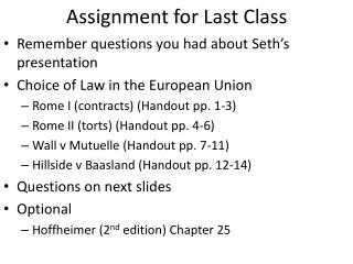 Assignment for Last Class