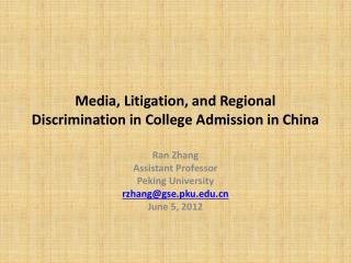 Media, Litigation, and Regional Discrimination in College Admission in China