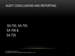 Audit Conclusions and Reporting