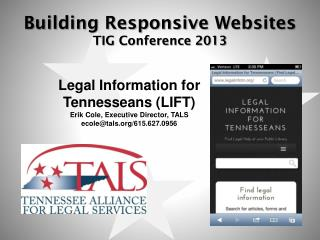 Building Responsive Websites TIG Conference 2013