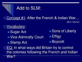 Add to SLM:
