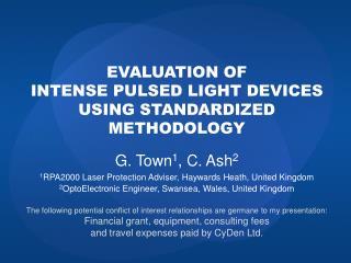 evaluation of intense pulsed light devices using standardized methodology