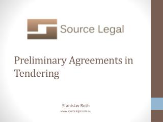 Preliminary Agreements in Tendering