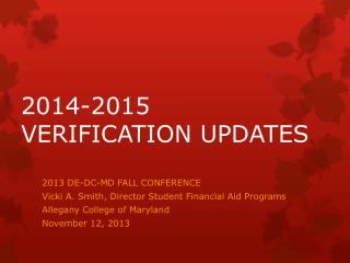 2014-2015 VERIFICATION UPDATES
