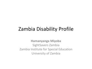 Zambia Disability Profile