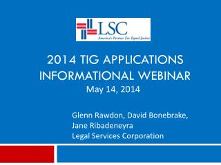 2014 TIG Applications  Informational Webinar