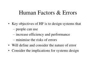 human factors  errors
