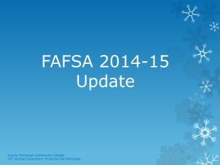 FAFSA 2014-15 Update