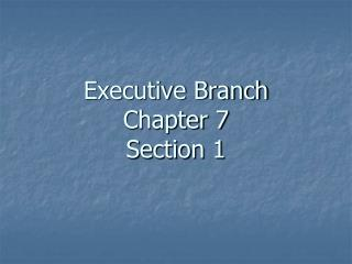 Executive Branch Chapter 7 Section 1