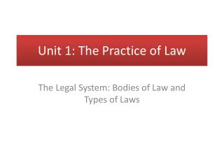 Unit 1: The Practice of Law