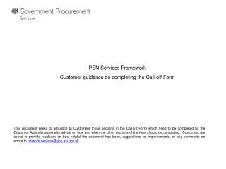 PSN Services Framework Customer guidance on completing the Call-off Form