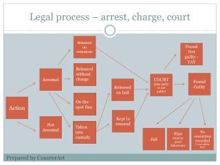 Legal process – arrest, charge, court