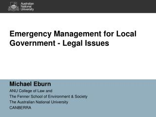 Emergency Management for Local Government - Legal Issues