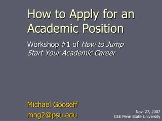 how to apply for an academic position