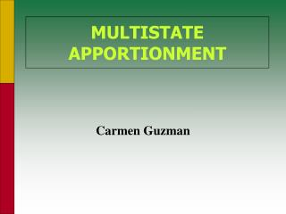 multistate apportionment