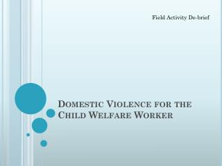 Domestic Violence for the Child Welfare Worker