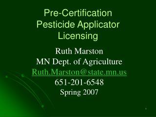 pre-certification pesticide applicator licensing
