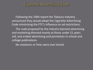 Cigarette Advertising Code