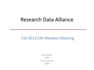 Research Data Alliance