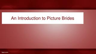 An Introduction to Picture Brides