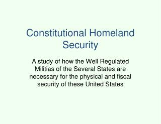 Constitutional Homeland Security