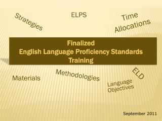 Finalized English Language Proficiency Standards Training