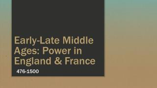 Early-Late Middle Ages: Power in England & France