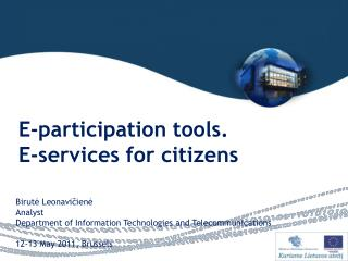E-participation tools . E-services for citizens
