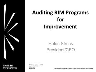Auditing  RIM Programs for Improvement