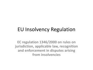EU Insolvency Regulation