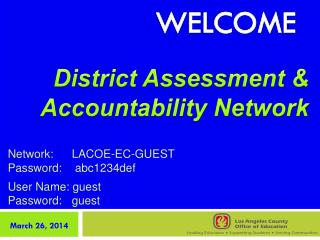 Network:	LACOE-EC-GUEST Password:	  abc 1234def User Name: guest   Password:	guest