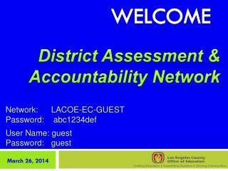 Network:LACOE-EC-GUEST Password:  abc 1234def User Name: guest   Password:guest