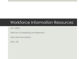 Workforce Information Resources