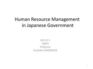 Human Resource Management  in  Japanese Government