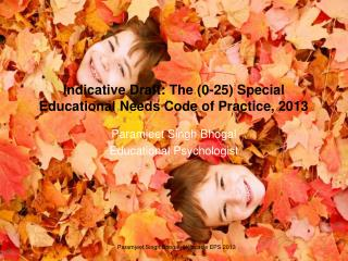 Indicative Draft: The (0-25) Special Educational Needs Code of Practice, 2013