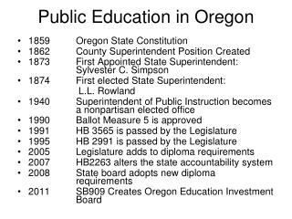 Public Education in Oregon
