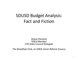 SDUSD Budget Analysis: Fact and Fiction