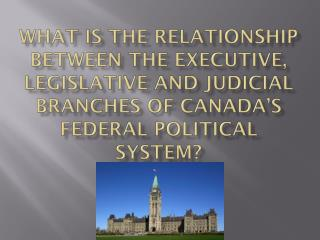 What is the relationship between the executive, legislative and judicial branches of Canada's federal political system?