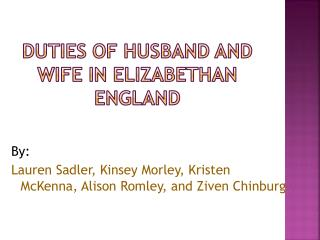 Duties  of  husband  and wife in elizabethan england