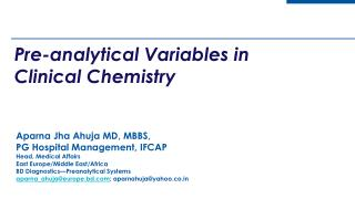 Pre - analytical Variables in Clinical Chemistry