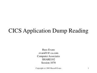 cics application dump reading