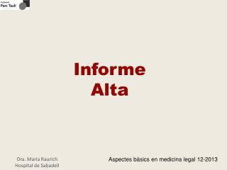 Informe  Alta