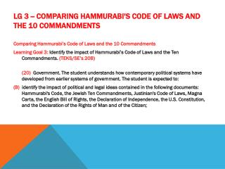 LG 3 -- Comparing Hammurabi's Code of Laws and the 10 Commandments